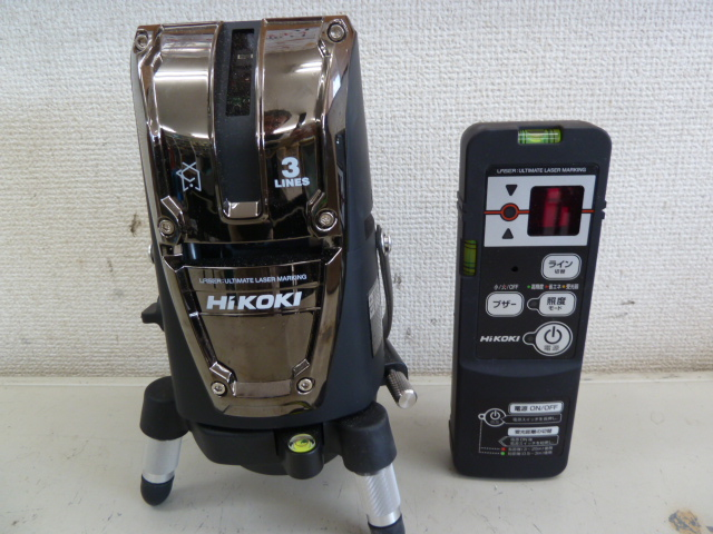 直角出し作業に便利な大矩照射モデル 3ライン ハイコーキ(日立工機) レーザー墨出し器 [ UG25U3(J) ] 3ライン リモコン受光器付あります。岡山店